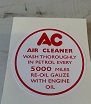 (Red/White) AC Decal for Engine Breather Filter 110 only