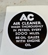 (Black/White) AC Decal for Engine Breather Filter